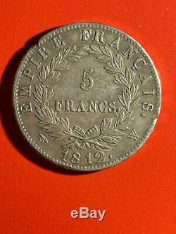 Napoleon 1st, Beautiful 5 Francs 1812 W Lille Superb Condition, Rare