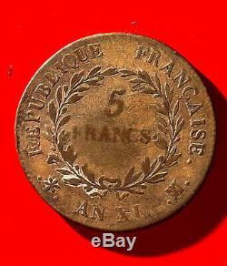 Napoleon Bonaparte First Consul, Very Rare 5 Francs An XI Ma Marseille