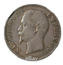 Napoleon III 5 Francs 1855 Bb Strasbourg Ngc Ms62 + Ideal Collection Very Rare