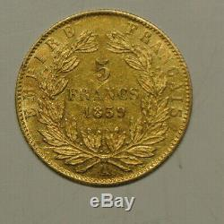 Napoleon III Head Nue 5 Francs Or 1859 A Sup / Spl Condition Very Rare