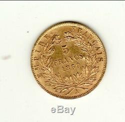 Napoleon III Head Nue Rare Condition Sup / Spl 5 Francs Gold 1860 A Very Rare Condition