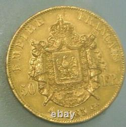 Napoleon III Laureee Rare Sup50 Francs Or / Gold 1865 A Small Tirage3200expl
