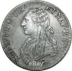 O1536 Rare Ecu Louis XVI 1791. In Paris 2nd Sem Silver -f Offers