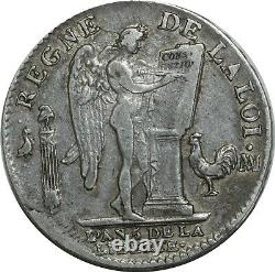 O1542 Very Rare Ecu Constitution Louis XVI 1793 Ma Marseille Silver Silver -f O