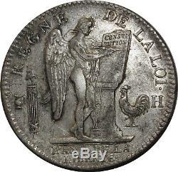 O1566 Very Rare Ecu Constitution Louis XVI 1792 H La Rochelle Silver Silver Sup