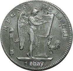 O1587 Tres Rare Ecu 6 Books Convention Louis XVI 1793 A Paris 2nd Sem Argent