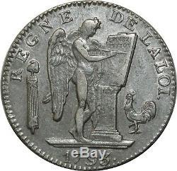 O1598 Rare Ecu 6 Books Convention Louis XVI 1793 Aa Metz Silver Ttb