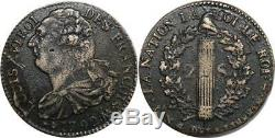 O9006 Very Rare Inedit 2 Sols Louis XVI Year April 1792 (point) Quality Aa