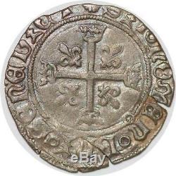 P3339 Very Rare Inedit Charles VIII Small Karolus Dijon Silver Vf +