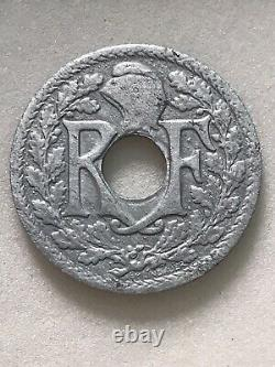 Piece 10 Centimes De Franc 1941, Fautée, Lindaner, Zinc Very Rare