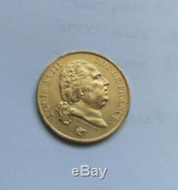 Piece Gold Collection 40 Francs Louis XVIII In 1818 In Paris Rare