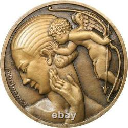 R2012 Very Rare Fonte Medal Uniface Art Deco Aphrodite Cupid Delannoy Sup