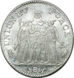 R3661 Very Finest Rare 5 Francs Union And Strength Year 7 L Bayonne Pcgs Ms60