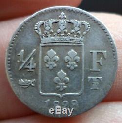 Rare 6304ex 1/4 Franc Charles X 1828 Nantes