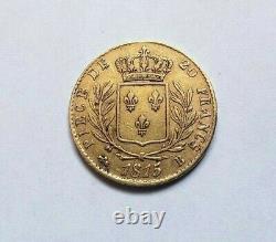 Rare And Beautiful Piece Of 20 Francs Gold 1815 B Louis XVIII