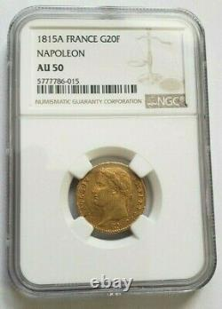 Rare And Very Beautiful 20-franc Gold Coin 1815 A Napoleon I One Hundred Days Ngc Au 50
