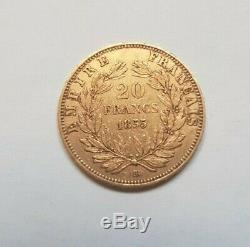 Rare And Very Beautiful Piece Of 20 Gold Francs 1855 Bb Napoleon III Dog Variety / Abei