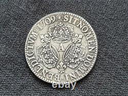 Rare Coin Louis XIV Ecu To Three Crowns 1709 Silver Very Good Condition #13