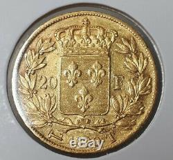 Rare Gold 20 Francs Louis XVIII 1820 T