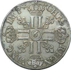 S2350 Very Rare R4 Ecu Louis XIV For 9 8 The 1690 Reverse Rennes Silver Sup