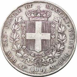 S7625 Very Rare Italian States Sardinia 5 Read 1860 B Fearis Silver