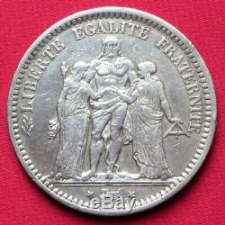 Silver 5 Francs Hercule 1871 A (camélinat) Rare Ttb Very Nice Copy