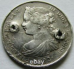 Spain Very Rare 100 Reals Isabel II 1862 Period Fake In Platinum