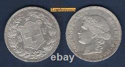 Switzerland 5 Francs 1888 Silver Tb Ttb Swiss Helvetia Tres Rare R4 25000 Copies