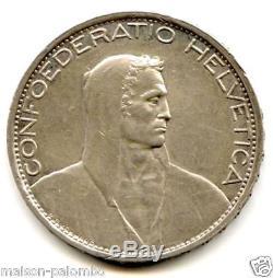 Switzerland Republic 5 Francs Silver 1924 B Very Rare