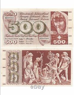 Switzerland Swiss Schweiz Bank Ticket 500 Frs 07-03-1973 Very Rare Vf+