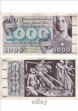 Switzerland Swiss Suisse Schweiz 1000 Frs 01-01-1967 Very Rare Condition See Scan