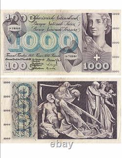 Switzerland Swiss Suisse Schweiz 1000 Frs 22-12-1960 Very Rare Condition See Scan