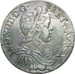 T1500 Tres Rare Half 1/2 Ecu Louis XIV Long Wick 1649 & Aix Silver Silver