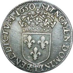 T1505 Very Rare Half 1/2 Ecu Louis XIV M Long 1650 I Limoges Silver F Offer