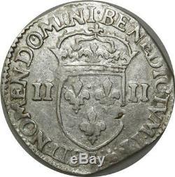 T3904 Rare R3 Henry IV Quart Ecu Silver Cross 1595 Leafy Face Lyon