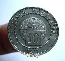 Test Alloy 10 Cents 1877. Paris. Very Nice State. Very Rare