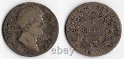 Tres Rare Currency 1 Franc Napoleon Emperor Silver Year 13 Q @ Perpignan