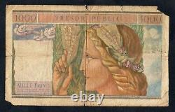 Tres Rare Post From 1000 Francs Tresor Public From 1955 @ French Banknote @ Rare