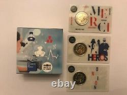 Tres Rare Same Issue On 3 Coincard And Be 2 Euro France 2020 Medical Research
