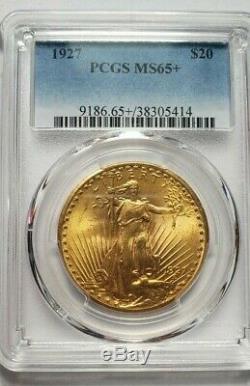 Very Nice Piece $ 20 Pcgs Ms65 + 1927 Gold Rare Quality