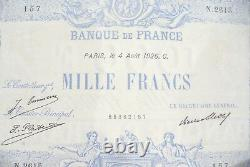 Very Pretty Ticket 1000 Francs Blue & Pink 4 August 1926 Alph. N. 2615 Rare