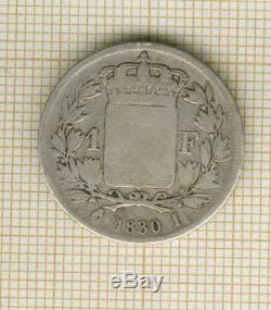 Very Rare! 1 Franc Charles X 1830 I Limoges, The Rare Head Of The Series