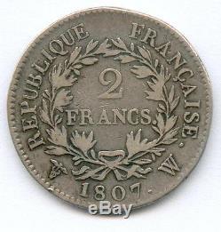 Very Rare 2 Francs Napoleon Emperor Silver 1807 W (lille)! 4114 Copies