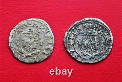 Very Rare 2 Varieties Of Carolus Type 5 1622 (charles Quint / Besançon)