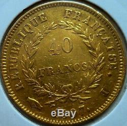 Very Rare, 40 Francs Gold Napoleon Bareheaded, Transitory Type 1807 I Limoges