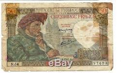 Very Rare 50 Note Jacques Coeur 54 Francs Alphabet