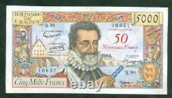 Very Rare 50nf Ticket On 5000f Henry IV From 30 10 58 Ttb