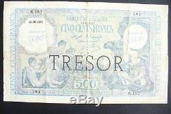 Very Rare And Beautiful Billet 500 Frs Algeria / Treasure 16/10/1943 Tb +