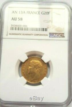 Very Rare And Beautiful Piece Of 20 Francs Gold A 13 Year Napoleon I Ngc Au 58 Quality