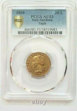 Very Rare And Beautiful Piece Of 20 Lire 1816 Turin Vittorio Emanuele Pcgs Au53